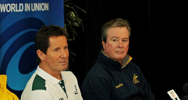 John O'Neill (R) with the man he appointed to lead the Wallabies, Robbie Deans.