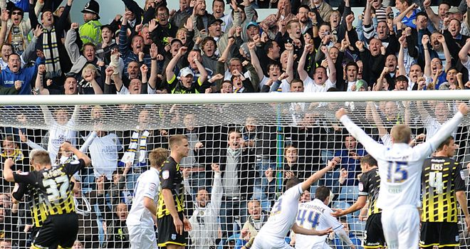 Goal joy: Robert Snodgrass notched a deserved equaliser for Leeds against Cardiff