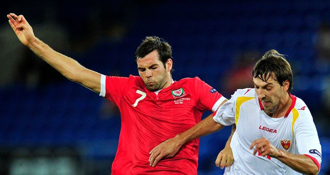 Dejan Damjanovic (right): On target for Montenegro against Ukraine