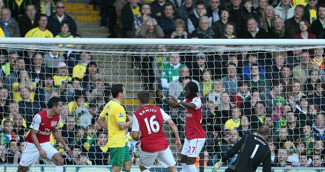 Norwich v Arsenal: Robin van Persie scores for the Gunners