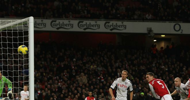Thomas Vermaelen: The defender heads home to rescue a point for Arsenal