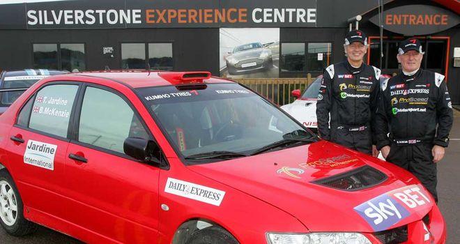 Tony Jardine (left) and Bob McKenzie prepare for the Wales Rally GB