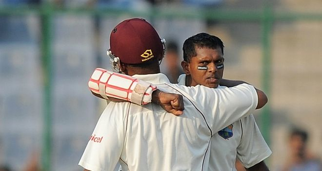 Shivnarine Chanderpaul: hugged Carlton Baugh upon reaching three figures