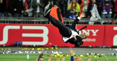 Guardiola: Celebrates their 2011 Champions League triumph at Wembley