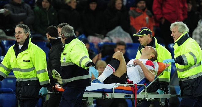 Nemanja Vidic: Injured his right knee a minute before half-time in his team's clash with FC Basel in Switzerland