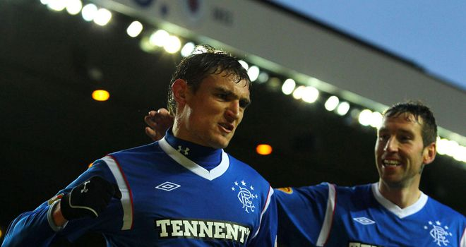 Jelavic: Celebrates goal for Gers