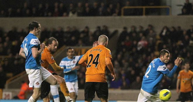 Steven Fletcher fires home the winning goal for Wolves against Sunderland