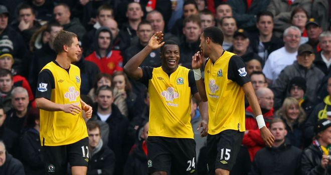 Yakubu celebrates at Old Trafford