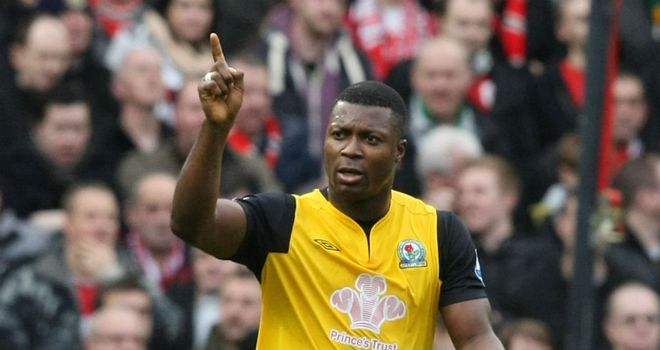 Yakubu: The striker hit the net in the 3-2 win at Old Trafford and wants Rovers fans to show their support at Ewood Park