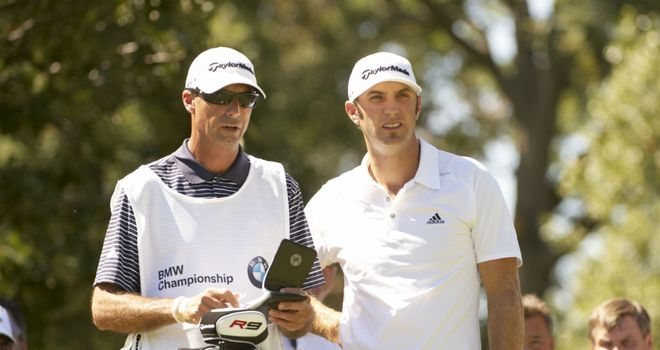 Dustin Johnson (R) will be without Bobby Brown (L) for the Ryder Cup match at Medinah