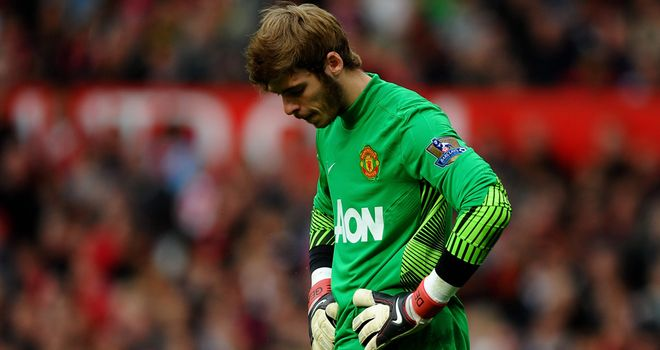David de Gea: Was far from happy about his defence in the run-up to Athletico Bilbao's third goal in the Europa League