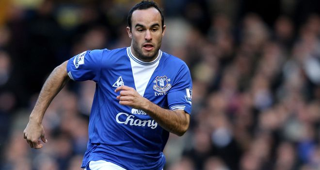 Landon Donovan: Back at Goodison Park and in contention to face Bolton on Wednesday