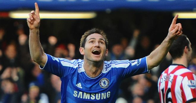 Frank Lampard celebrates his early goal for Chelsea