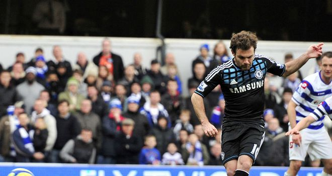 Juan Mata scores the only goal of the game at Loftus Road
