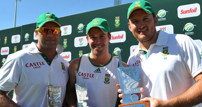 Series win: Jacques Kallis, AB de Villiers and Graeme Smith