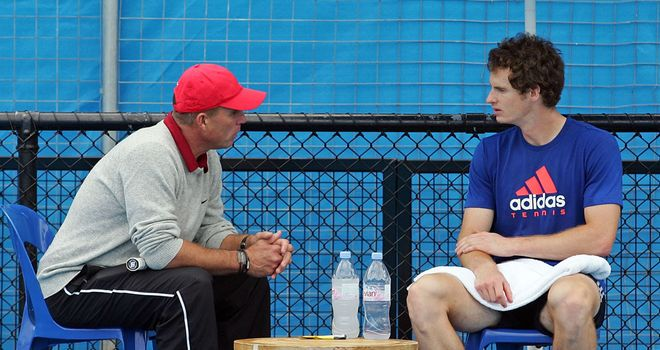 Best practice: Lendl and Murray discuss ideas at the at Rod Laver Arena