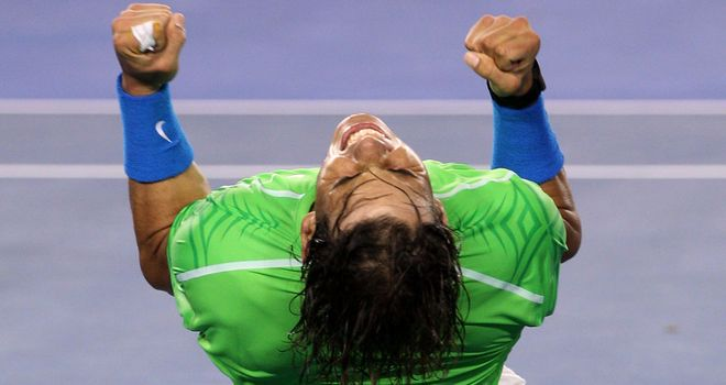 Rafael Nadal celebrates his stunning semi-final victory over Roger Federer