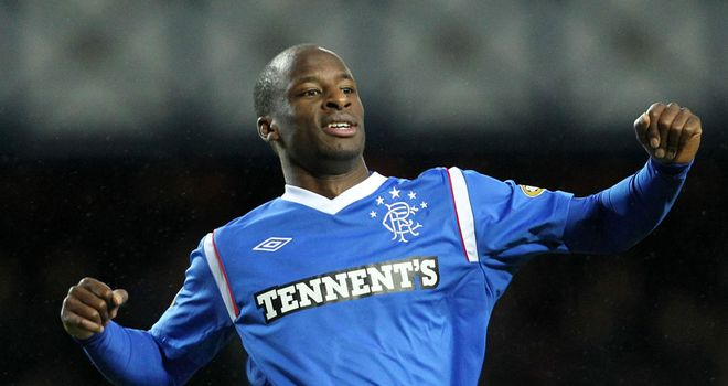 Aluko: Celebrates his first Rangers goal