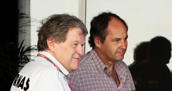 Gerhard Berger (R): Thinks Michael Schumacher will retire at the end of the year