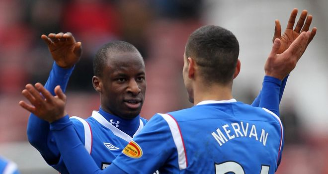 Aluko: Celebrates his goal with Mervan