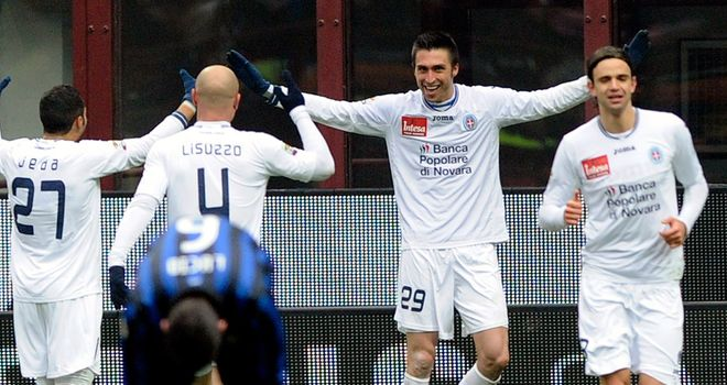 Andrea Caracciolo: Striker celebrates after scoring Novara's shock winner at Inter Milan