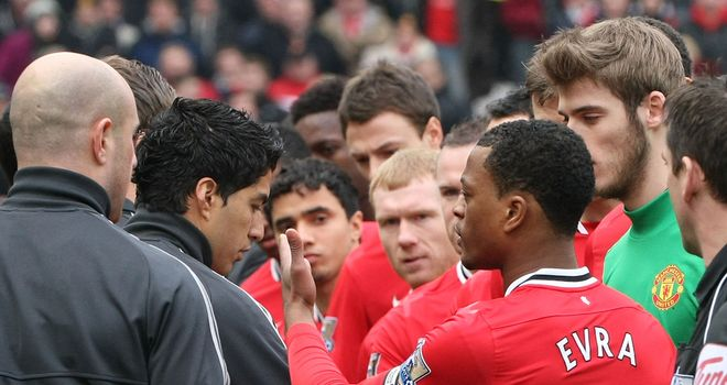 Luis Suarez: Caused outrage by not shaking Patrice Evra's hand in Saturday's match