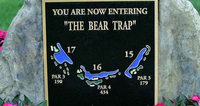 A plaque marking The Bear Trap - the tough three-hole stretch from 15-17