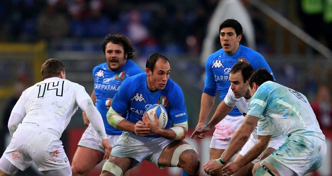 Sergio Parisse takes on the England defence in Rome last year