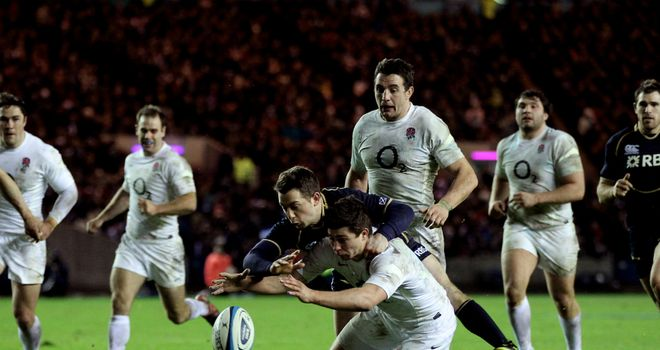 Greig Laidlaw came close to a try after coming off the bench against England at Murrayfield