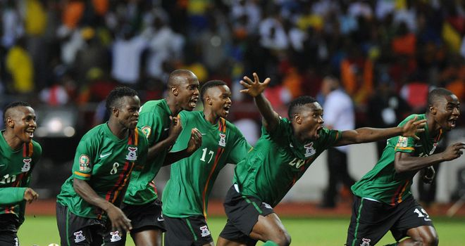Zambia's players celebrate their famous penalty shoot-out win over Ivory Coast