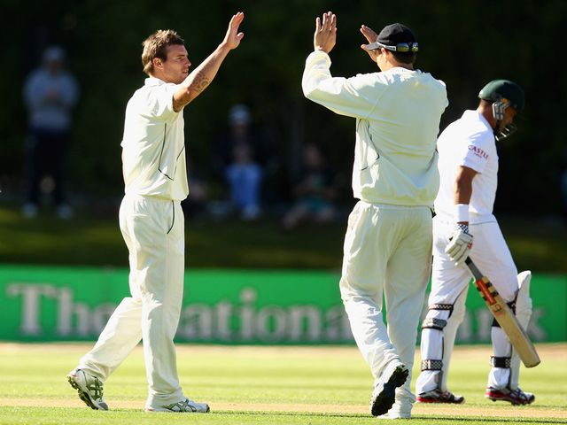 Doug Bracewell celebrates for New Zealand