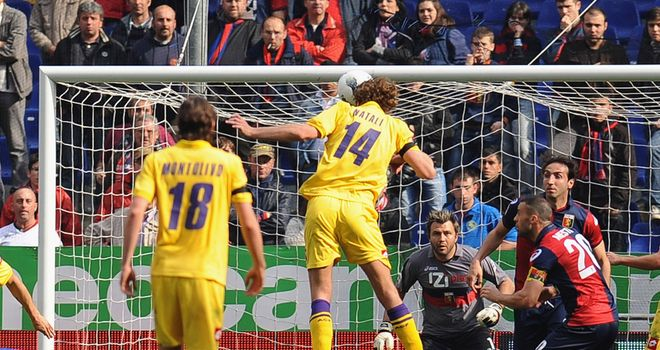 Cesare Natali, seen here scoring for Fiorentina in March, did not make a happy return to his former club