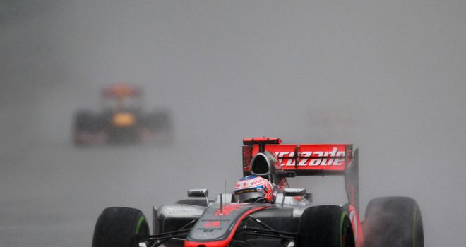Jenson Button on his way to finishing 14th in the wet conditions at