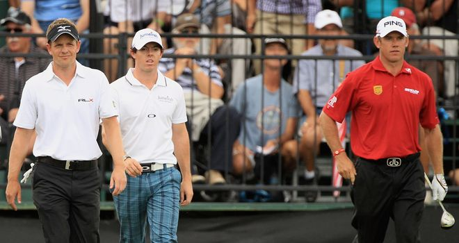 (L-R) Donald, McIlroy and Westwood will battle it out for top spot at Augusta this week