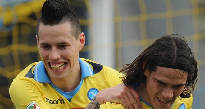 Marek Hamsik and Edinson Cavani were both on the mark for Napoli