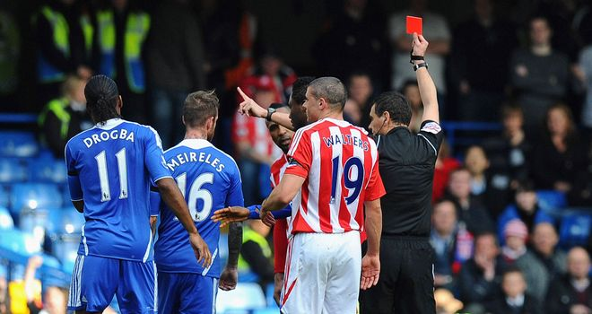 Ricardo Fuller: Stoke striker shown a red card after stamping on Chelsea defender Branislav Ivanovic