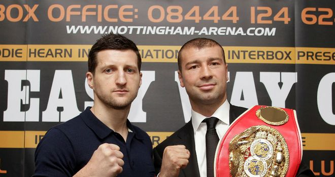 Carl Froch (L) and Lucian Bute met at Monday's press conference (pic lawrence lustig)