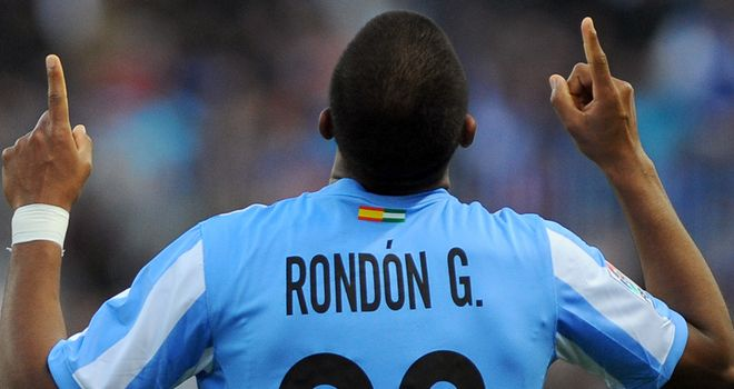 Salomon Rondon: At the double for Malaga against Rayo Vallecano