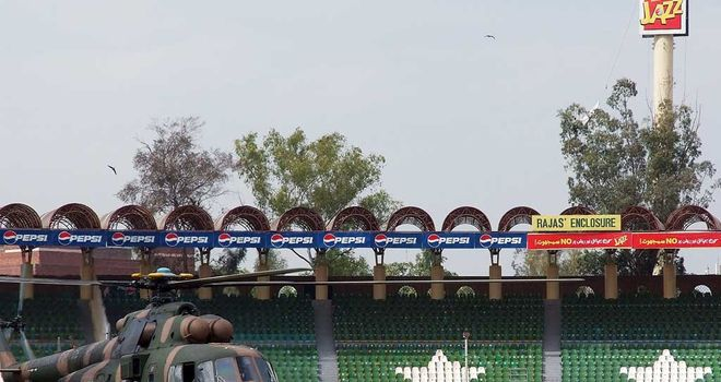 The Gaddafi Stadium in Lahore in the aftermatch of the 2009 terrorist attack