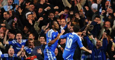 Drogba: Celebrates his goal against Barcelona
