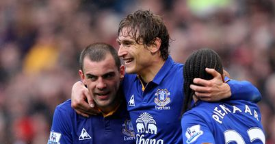 Jelavic: Celebrates his opener at Old Trafford