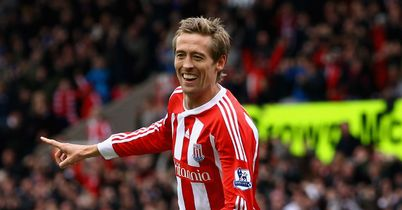 Crouch: Celebrates his goal for Stoke