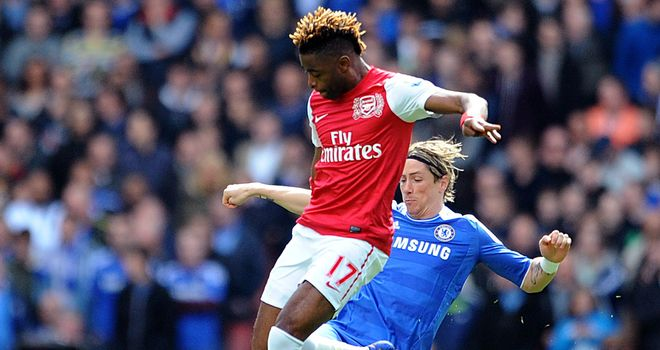Alex Song and Fernando Torres vie for the ball at Emirates Stadium