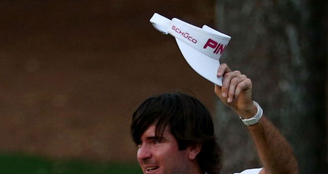 Bubba Watson salutes the Augusta galleries after his play-off triumph