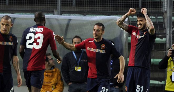 Mauricio Pinilla celebrates his goal for Cagliari in the win over Catania