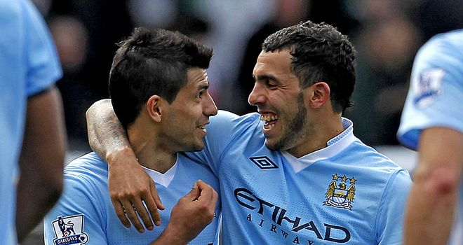 Aguero and Tevez: set to rip Wolves apart