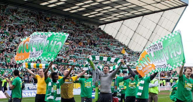 Celtic celebrate winning last season's SPL title