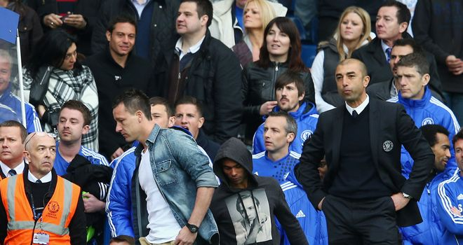 Roberto Di Matteo watches on the touchline as Chelsea hosted Wigan