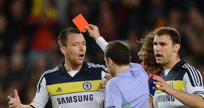 John Terry: Proud of Chelsea's performance after his early dismissal in Barcelona