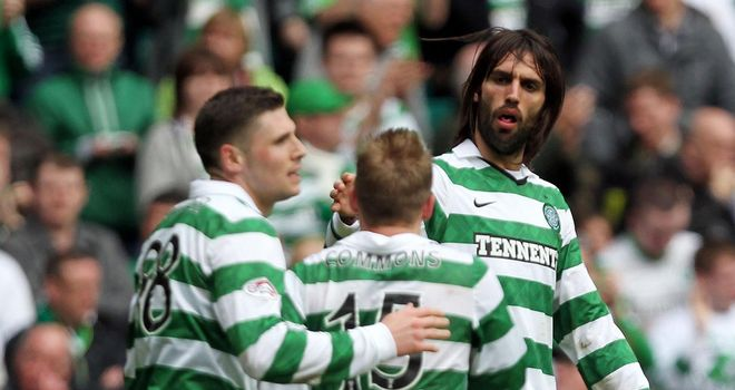 Celtic: Celebrating second goal